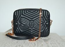 "NWT $195 TED BAKER ""Sunshine"" Leather Camera Chain Bag Crossbody Black Rose Gold"