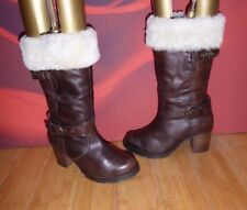 *36* SOLE SISTER BROWN LEATHER REAL SHEEPSKIN TOP HEEL MID CALF BOOTS EU 37 / 4