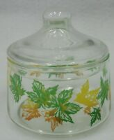 Vintage Lidded Glass Jar Canister with Yellow & Green Autumn Maple Leaf Design