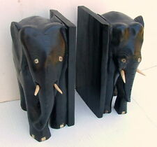 ELEPHANT BOOKENDS BONE INLAY SCULPTURE CHINESE EARLY REPUBLIC HAND CARVED ZITAN
