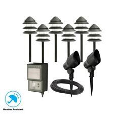 Hampton Bay Low-Voltage Black Halogen 6 Path Light and 2 Flood Light Kit