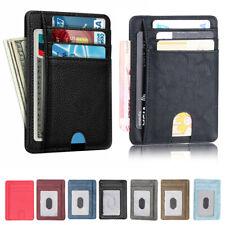 Радиочастотная идентификация блокировки кожаный тонкий бумажник деньги клип кредитной карты слоты монета держатель для мужчин