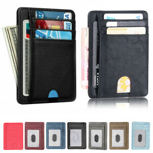 RFID Blocking Leather Slim Wallet Money Clip Credit Card Slots Coin Holder Men