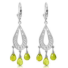 3.75 CTW 14K Solid White Gold Chandelier Earrings Natural Peridot