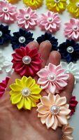 6 Satin Ribbon Flower Bow  Appliques Craft Sewing DIY  Wedding Deco Handmade UK