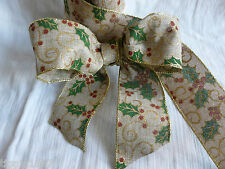 60 mm x 2 METRE  Wired Christmas Holly Hessian Ribbon for Cakes/Bows/ Garlands