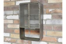 Vintage Industrial Style Metal Wall Cabinet with Mesh Doors Storage Shelves