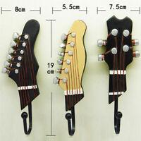 3Pcs Coat Hooks Vintage Decorative Towel Hanger Rack Utility Hooks, Guitar