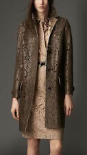 NWT BURBERRY LONDON $6250 WOMENS  LEATHER LASER CUT LACE TRENCH COAT US 6 EU 40