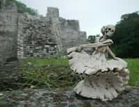 "Mexican Talavera Dancing Catrina Day Of The Dead Handmade Fishbone Carving 5.5"""