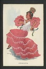Embroidered clothing postcard Artist MNG, Spain, Andalucia girl child