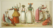 Costumes traditionnels Italie italien Durin Firmin Didot c1888 lithographie