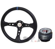 Accord Civic Type-R Deep Dish 350Mm Steering Wheel+ Hub Adapter Black/Blue Ek