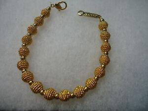 Napier vtg gold tone metal bead bracelet