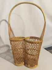 Vintage Rattan Wicker Double WINE BOTTLE BASKET Picnic Wedding Party
