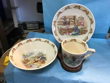"""ROYAL DOULTON """"BUNNYKINS"""" CHILDS SET--NOT A REPRO--+ STAND------------------d"""