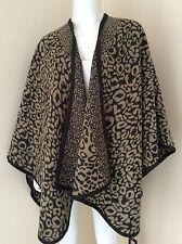 Biba Avena & Brown De Leopardo/Art Deco con logotipo impreso Jacquard capa/manta/abrigo