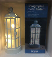 Noma 26cm Metal Holographic Warm White LED Battery Lantern Light, Garden Patio