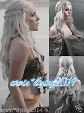 Daenerys Targaryen Dragon Princess Game of Thrones Braids cosplay wigs + wig cap