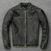 Men's Motorcycle Biker Vintage Distressed Black Faded Real Leather Jacket