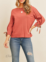 Dance & Marvel | Rust 3/4 Sleeve Tie Detail Round Neck Top | NWT Size: S, M, L