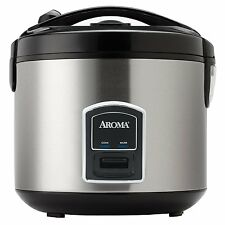 aroma 20 cup electric rice cooker u0026 food steamer stainless steel arc900sb new