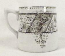 Oriental Flowers Brown Transferware Mug Ironstone Antique Shaving