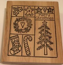 Merry Chrisrmas Holiday Square Rubber Stamp