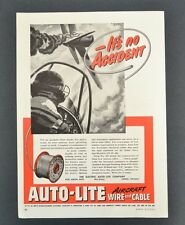 Electric Auto-Lite Company Aircraft Wire & Cable WWII WW2 1943 Vintage Print Ad