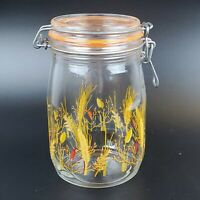 """Vintage ARC France Glass Canister Jar Golden Wheat Rubber Seal 1 L 6 3/4"""" Tall"""