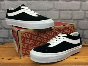 VANS LADIES UK 6 EU 39 BOLD NEW ISSUE STAPLE BLACK WHITE SUEDE LEATHER TRAINERS
