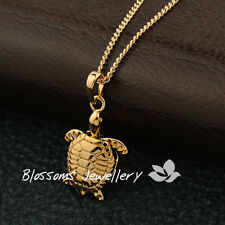 Cute 18K Yellow GOLD GF Sea Turtle Womens Pendant NECKLACE 4 Ocean LOVERS ES557