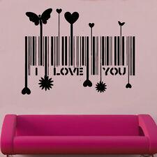 I Love You Barcode Decal Vinyl Wall Sticker Art Love Décor Bedroom