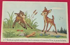 RARE CPA WALT DISNEY S.A. BAMBI N°7 1947-1948 DESSIN ANIME PAN-PAN FELINE FLEUR