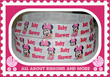 "7/8"" MINNIE MOUSE BABY SHOWER PRINT RIBBON- 1 YARD"