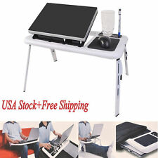 Foldable Laptop Table Tray Desk Tablet Desk &Cooling Fan Stand Bed Sofa Couch OB