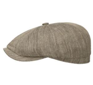 STETSON Hatteras Linen/silk Woodhurst Brown L 7 3/8  NEWSBOY Gatsby 8/4 Cap Hat