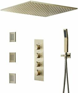 """20"""" Rain Shower System Thermostatic Shower Faucet Hand Shower&Jets Brushed Gold"""