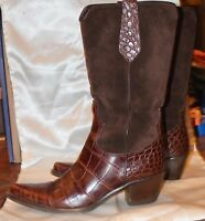 Brown Suede Leather Cowboy Boots Italy Size 8.5 - 9 ,Women Gorsuch EUC