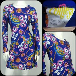 True Vintage 60s/70s Contesa Psychedelic Dress Size 12 Blue Floral Retro
