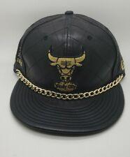 Chicago Bulls Leather Gold Chain/6 Rings New Era Hardwood Classics Strapback