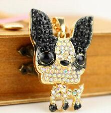 Pendant Betsy Johnson Animals Jewelry Enamel Chihuahua dog rhinestone necklace