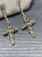 Vintage Fancy Pastel Cross Enamel Drop Dangle Quality Pierced Earrings