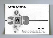Miranda Sensomat Instruction Manual photocopy