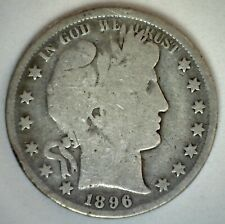 1896 Barber Half Dollar Silver Type Coin Fifty Cent 50 Cents Circulated Good