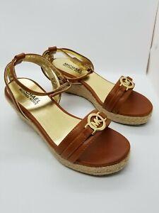 Michael Kors NAOMI Wedge Sandals LOGO Size USA 3 Carmel Shoes