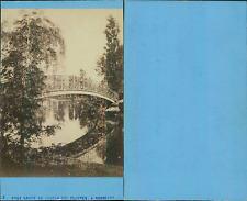 France, Bordeaux, pont rouge  au jardin des plantes  Vintage CDV albumen carte d