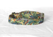 """1"""" Small Whippet Martingale Dog Collar Green Colorful Pinwheels"""