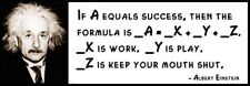 Wall Quote - ALBERT EINSTEIN  - If a Equals Success, Then the Formula Is