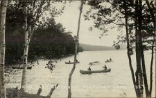 Island Falls ME Canoes on Pleasant Lake Real Photo Postcard
